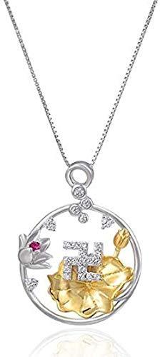 BACKZY MXJP Collar Elegante Temperamento Plata Diamante Retro Budista Colgante Collar De Fe Budista
