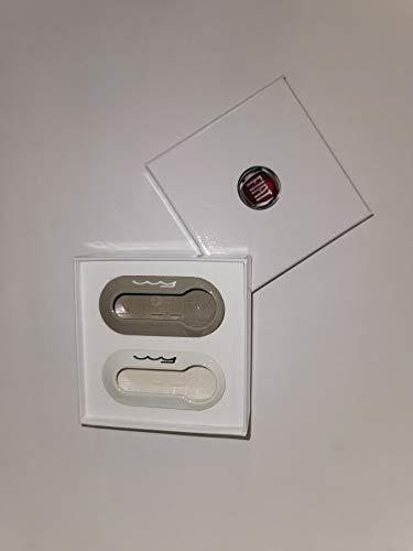 Fiat Set de coques de clé d'origine pour Fiat 500, couleur moccalatte et blanc pastel