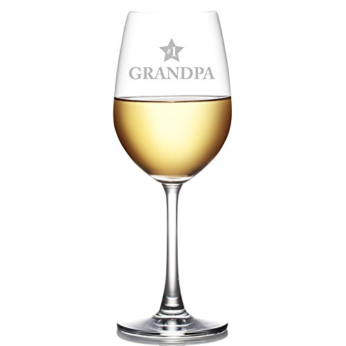 #1 Grandpa Engraved 18 oz Wine Glass