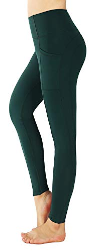 Munvot Damen Sporthose Laufhose Capri Training Tights Atmungsaktive schweißabsorbierende Hose(Dunkelgrün XS)