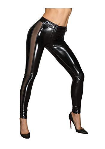 Noir Handmade Damen PVC-Leggins mit Tülleinsätzen M373 S