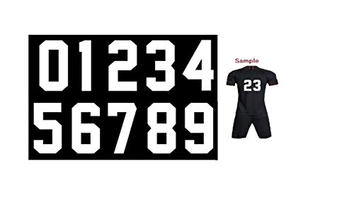 Fanbrilliant 0 to 9 Numbers 8 inch Tall for Sports T-Shirt Jersey Iron on Heat Transfer Numbers (White)