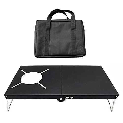 su-xuri - Mesa plegable al aire libre, portátil, cortavientos, acero inoxidable, mesa de camión, con bolsa de almacenamiento, para mesa de camping, picnic, exterior, barbacoa, jardín, 32 x 21 x 8 cm