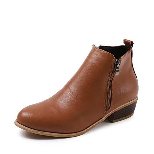 Hafiot Stiefeletten Damen mit Absatz Ankle Boots für Damen Chelsea Winter Kurzschaft Wildleder Leder Reissverschluss 3cm Stiefel Blau Braun Schwarz 35-43 BR42