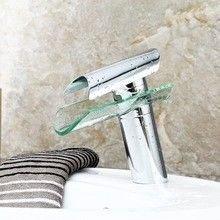 Lalaky Grifos Grifo Grifo Cocina Mezclador Lavabo Cascada Baño Mezclador Grifo para Cocina Baño y Lavabo Todos Cobre LED Blanco Vidrio Control de temperatura Agua caliente y fría boca ancha Cascada