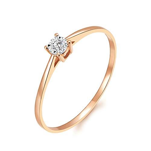 Beydodo Anillos de Mujer Oro Rosa 18 Kilates Redondo con 4 Garras Diamante 0.02ct Anillo Oro Rosa Anillo Talla 16