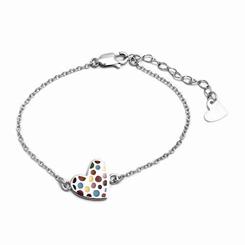 Pulsera plata Ley 925m Agatha Ruiz de la Prada 14cm colección Pecas corazón topos colores esmaltados