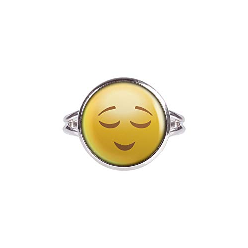 Mylery Anillo con Motivo Smileys Emoji Sonriente de la Cara no. 5 Plata 14mm