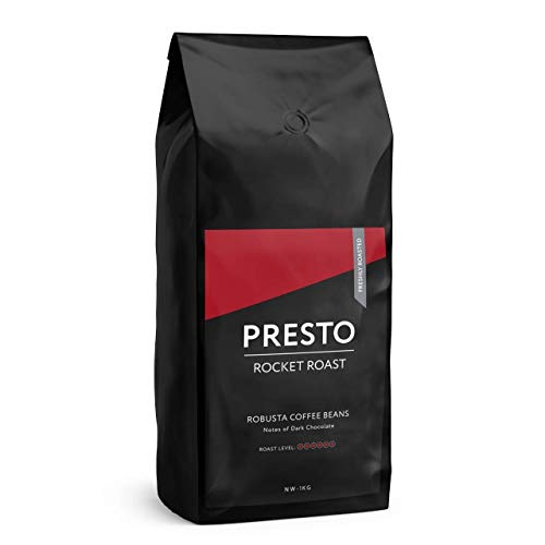 Presto Coffee Beans - Robusta Rocket Roast - Dark Roast Whole Bean Energy Drink - (Coffee Beans 1KG)