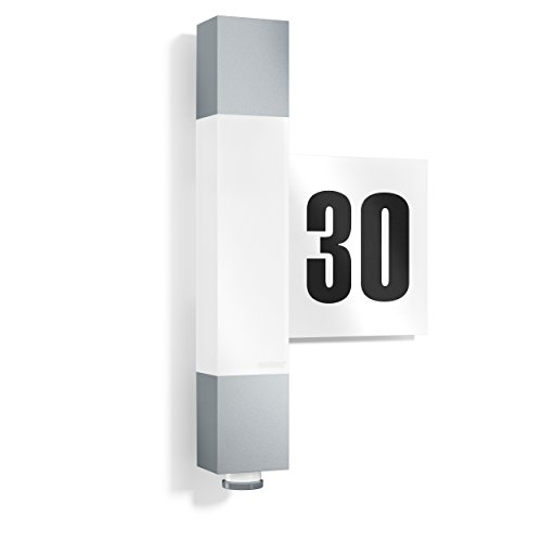 Steinel LED Wandleuchte L 630 LED silber, inkl. Hausnummer, 8.2 W, 360° Sensor, 8 m Reichweite, Softlicht, Dauerlicht