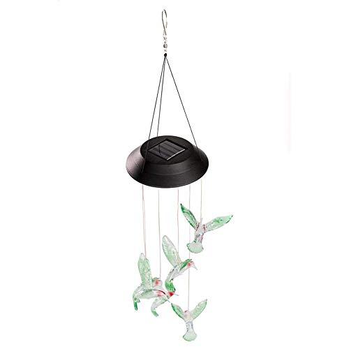 AJH Solaire Lumière LED Changement de Couleur Colibri Vent Carillon Suspendu Étanche en Plein Air Décoratif Romantique Vent Cloche Lumière