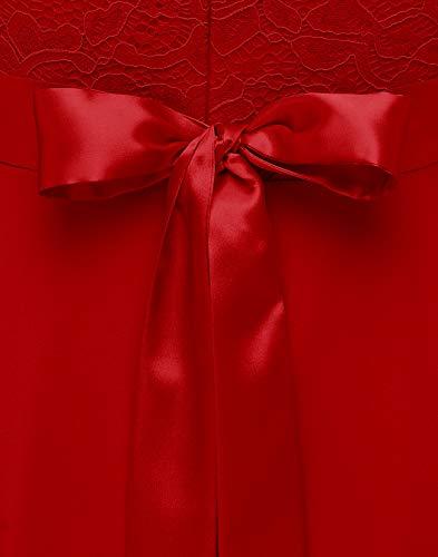 Berylove Mujer Vestido Corto de cóctel Top Falda de Encaje Columpio de Gasa para Boda de Bola BLP7005 B-Red L