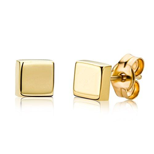 Miore Damen Ohrstecker 9 Karat – Viereckige Ohrringe aus 375 Gelbgold – Hochwertiger Gelbgold-Schmuck Ø 4,5 mm