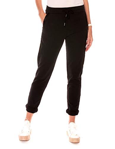 Easy Young Fashion Damen Hose Jogginghose Lang Sporthose Trainingshose Baumwolle Jogg Pants Sweatpants mit Seitenstreifen Schwarz M 38