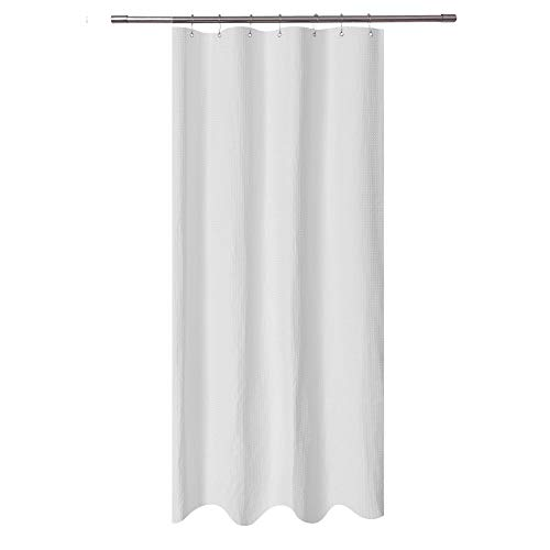Stall Shower Curtain Fabric 36 x 72 inch, Waffle Weave, Spa, Hotel Collection, 230 GSM Heavy Duty, Water Repellent, White Pique Pattern Decorative Bathroom Curtain