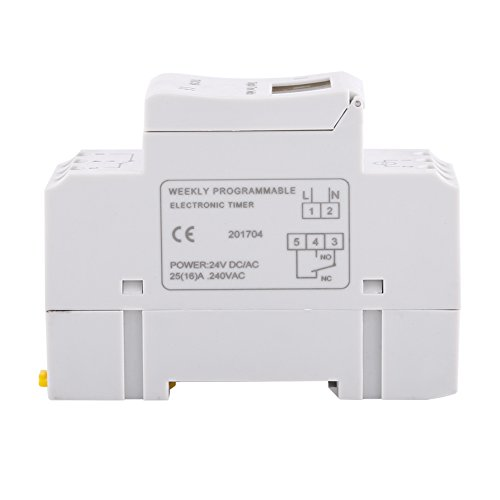 Interruptor controlado por tiempo con 16 ajustes de encendido y 8 de apagado Método de montaje en riel DIN para controlar farolas, lámpara de neón, etc.(24 V)