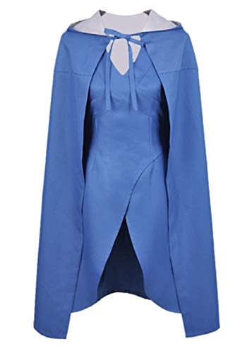 Game of Thrones Daenerys Targaryen Costume Khaleesi Cosplay Dress with Cloak for Women Y053XL Blue