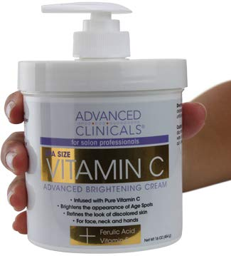 Advanced Clinicals Vitamin C Cream. Advanced Brightening Cream. Anti-aging cream for age spots, dark spots on face, hands, body. (16oz)