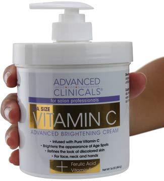 Advanced Clinicals Vitamin C Cream. Advanced Brightening Cream. Anti-aging cream for age spots, dark spots on face, hands, body. (16oz)