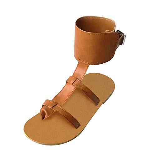 VJGOAL Moda para Mujer Sandalias de Tiras Casual Sandalias Roma Correa de Hebilla de Tobillo Sandalias Planas Zapatos de Playa con Punta Abierta de Verano(37 EU,Amarillo)