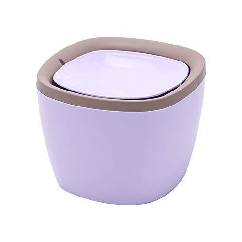 Chytaii Papelera de Escritorio Mini Papelera para Escritorio con Tapa Cubo de Almacenamiento Papelera Oficina Mesa Baño Cocina Square 16.8 * 15.8 * 12.2cm