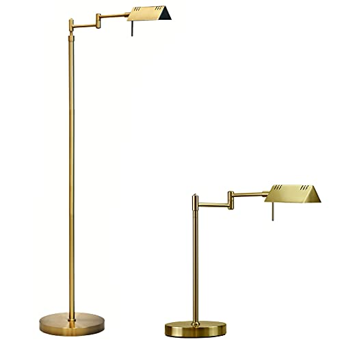 O'Bright LED Pharmacy Floor Lamp and Table Lamp Bundle, 12W LED, Full Range Dimming, 360 Degree Swing Arms, Reading Lamp, Task Lamp for Craft Work and Sewing, Antique Brass