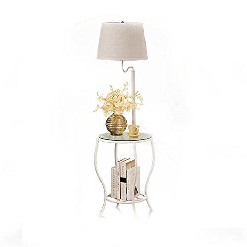 Lampadaires Lampe de table de bureau de table basse en verre trempé de LED, lampe de table de magazine de lampe de chevet de salon minimaliste de chambre nordique Protection des yeux LampadaireA+ ( Couleur : Blanc )