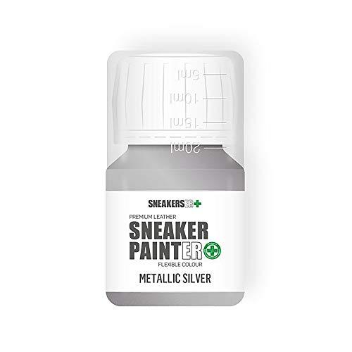 SNEAKERSER SNEAKER PINTER Premium - Pintura de piel flexible para zapatillas, zapatillas de deporte, zapatos y calzado: plata metalizada, 30 ml