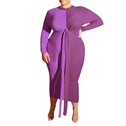 Alwayswin Damen Reizvolle Plus Größen Langes Kleid Patchwork Verband Maxi-Kleid Verband Festes Langärmliges Kleid Partykleid Langes Hülsen O-Ausschnitt Cocktailkleid
