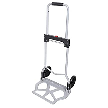 Oguine Portable Folding Hand Truck Heavy Duty 2-Wheel Utility Cart 165lbs Capacity Foldable Dolly with Rope for Travel Auto Luggage Shopping Personal Moving  US Stock   Silver-220 lbs