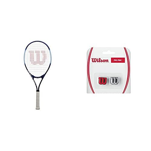 Wilson Raqueta de Tenis, Tour Slam Lite, Jugador recreativo y Principiante, Morado/Azul, WRT30210U3 + Pro Feel Antivibrador Raqueta-Unisex, Rojo/Plata, NS