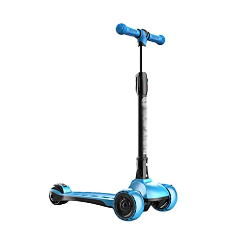Patinete Scooter de Los Niños Altura Ajustable Magro para Dirigir con la Luz LED sobre Ruedas de Scooter para Niños de 2 A 12 Años de Edad (Color : Blue)