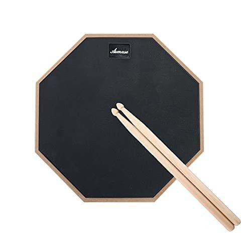 """Asmuse Drum Practice Pad 12"""" de Práctica Almohadilla de Batería Transporte para Entrenamiento Almohadilla de Aprendizaje Con Baquetas -Gris"""