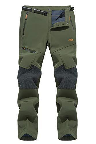 MAGCOMSEN Herren Trekkinghose Gefüttert Fleecehose Outdoor Cargohose für Männer Ski Softshellhose Winter Wandern Hosen Tactical Hose Army Hose Armeegrün, 32