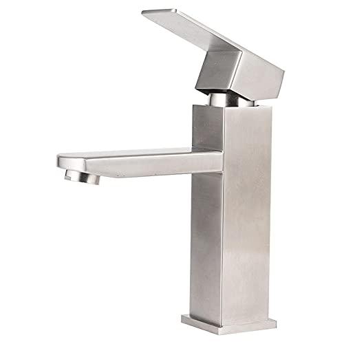 Grifo de lavabo de acero inoxidable 304 grifo de lavabo cuadrado frío y caliente de una manija de un solo orificio Oferta especial
