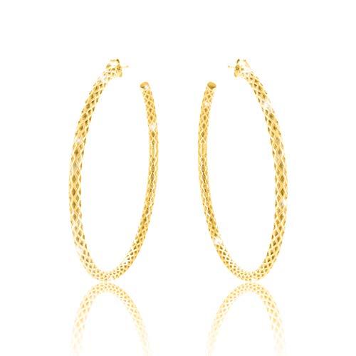 PAVEL´S große Creolen ELEGANCE Ohrringe Reifen 60mm gedreht 18 Karat Gold mit Stecker plattiert inkl. hochwertigem Leder Etui & Echtheits-Zertifikat