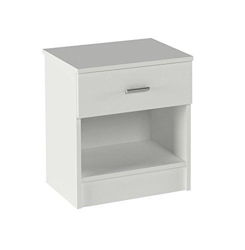 Meka-Block K-9462B - Comodino con cassetto e spazio, colore bianco.