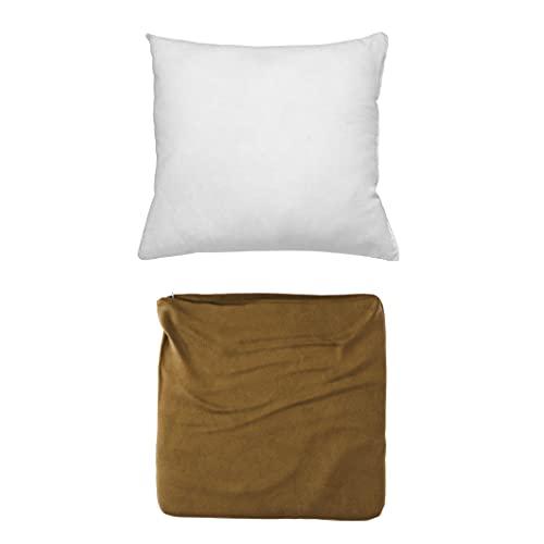Cojines Sofa con Relleno Incluido Pack de Cojin + Funda de 55x55 en Color Caqui / Cojines Decorativos para Sofa , Cama , Salon / Fundas de Terciopelo Elegantes para la decoración del hogar