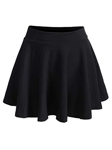 Romwe Women's Plus Size Stretchy Elastic Waist Flared Casual Mini Skater Skirt Black 1X Plus