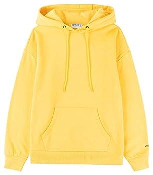 BETTERCHIC Women s Casual Hooded Sweatshirt Soft Brushed Fleece Pullover Hoodie  YELLOW,S)