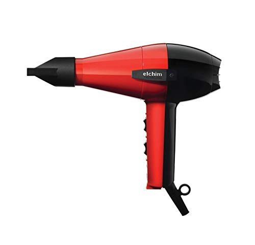 Elchim Classic 2001 Hair Dryer: Light 1875 Watt Quick Dry Professional Salon Blow Dryer - Red/Black