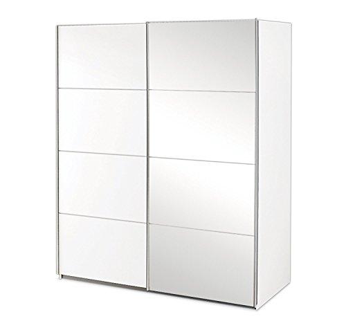 Schwebetürenschrank Kleiderschrank Schlafzimmerschrank   2-türig   Dekor   Alpinweiß   mit Spiegel   181x197x61 cm