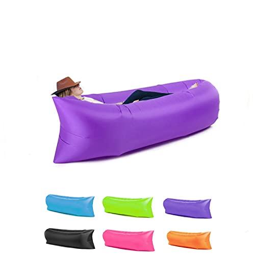 Haikers Chaise longue gonflable, hamac portable, étanche et anti-fuite d'air, idéal pour l'extérieur, les voyages, les fêtes sur la plage, les pique-niques, le jardin (Violet)