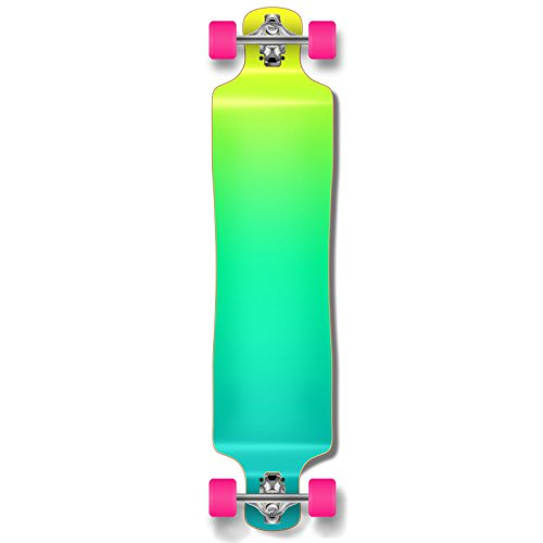 Yocaher Lowrider Drop Down Through Pro Complete Longboard Cruiser Freestyle Freeride Skateboard and Decks (Complete - Gradient Green)