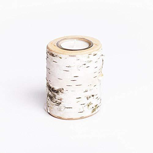 WOODS Teelichthalter aus Birken-Holz | Adventskranz Kerzenhalter | Holz-Deko Windlicht Kerzenhalter | Tisch-Deko Hochzeits Deko 9-10cm | Mit Glaseinsatz