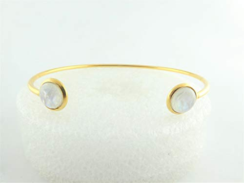 Armreif Armspange Gold-Weiss Opal rund minimalistisch 8mm Edelstahl