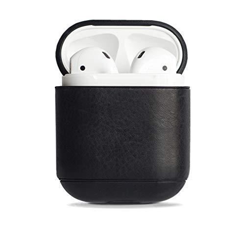 Krusell Schutzhülle kompatibel mit Apple AirPods und Apple AirPods 2 Case Echtleder (Vintage Schwarz)