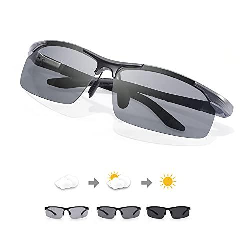 TJUTR Gafas de sol polarizadas fotocromáticas para hombres, seguridad durante la conducción, protección UV, antirreflejos, reduce la fatiga ocular., Gun Wide Frame/Gris Photochrome Lente polarizada,