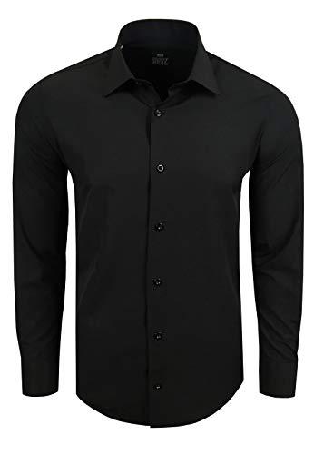 Rusty Neal Premium Basic Stretch Herren Hemd Business Slim Fit Schwarz & Weiß S - 4XL Langarm Hemden Uni Body-Fit 55, Farbe:Schwarz, Größe:L