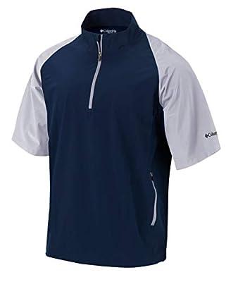 Columbia Golf Men's Omni-Wick Short Sleeve Sporty Windbreaker (Large, Navy)